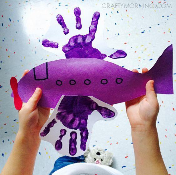 Crafty Morning Aviation Handprint Craft